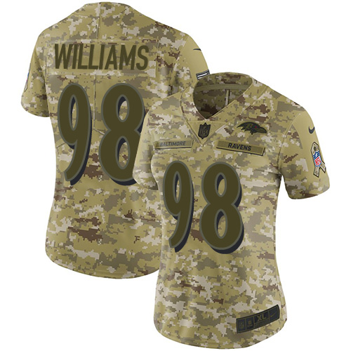 Ravens #98 Brandon Williams Camo Women's Stitched Football Limited 2018 Salute to Service Jersey