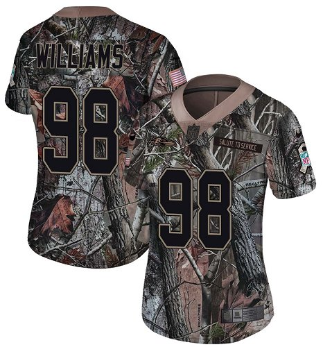 Ravens #98 Brandon Williams Camo Women's Stitched Football Limited Rush Realtree Jersey