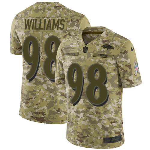 Ravens #98 Brandon Williams Camo Youth Stitched Football Limited 2018 Salute to Service Jersey