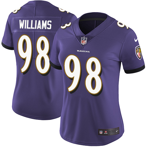 Ravens #98 Brandon Williams Purple Team Color Women's Stitched Football Limited Vapor Untouchable Limited Jersey