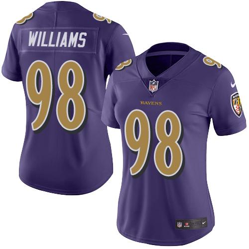 Ravens #98 Brandon Williams Purple Women's Stitched Football Limited Rush Jersey