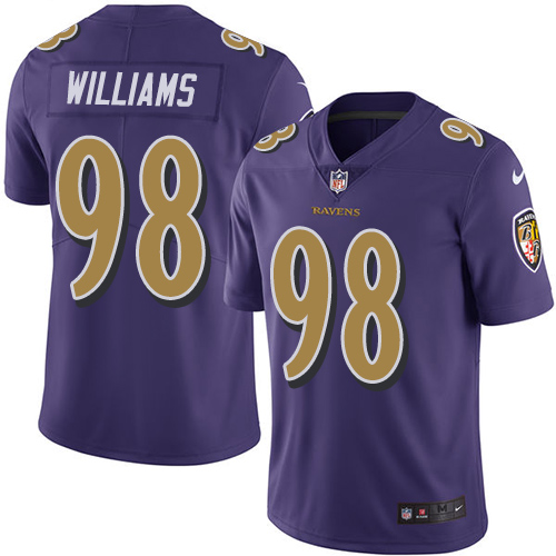 Ravens #98 Brandon Williams Purple Youth Stitched Football Limited Rush Jersey