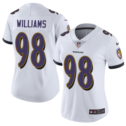 Ravens #98 Brandon Williams White Women's Stitched Football Limited Vapor Untouchable Limited Jersey