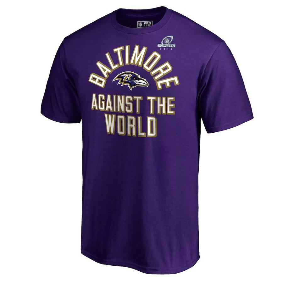 Ravens Purple 2018 NFL Playoffs Against The World Men's T-Shirt
