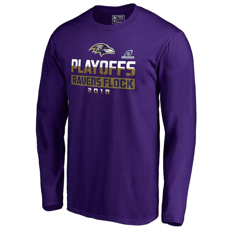 Ravens Purple 2018 NFL Playoffs Ravens Lock Men's Long Sleeve T-Shirt