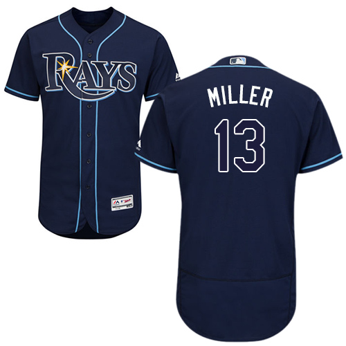 Rays #13 Brad Miller Dark Blue Flexbase Authentic Collection Stitched Baseball Jersey