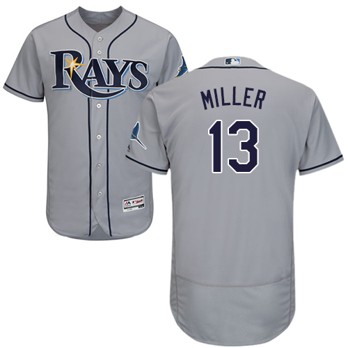 Rays #13 Brad Miller Grey Flexbase Authentic Collection Stitched Baseball Jersey