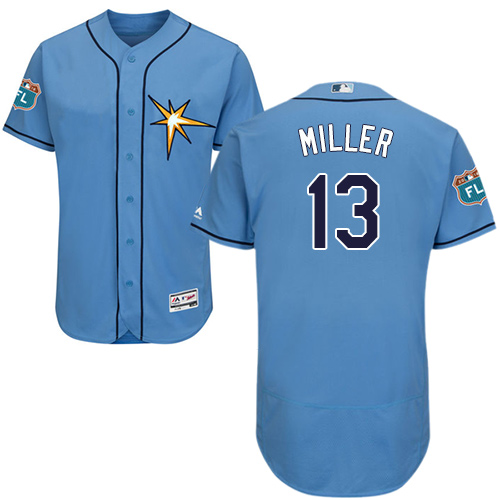 Rays #13 Brad Miller Light Blue Flexbase Authentic Collection Stitched Baseball Jersey