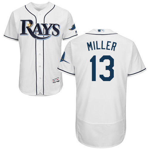 Rays #13 Brad Miller White Flexbase Authentic Collection Stitched Baseball Jersey