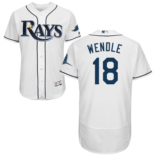 Rays #18 Joey Wendle White Flexbase Authentic Collection Stitched Baseball Jersey