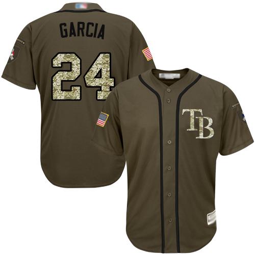 Rays #24 Avisail Garcia Green Salute to Service Stitched Baseball Jersey