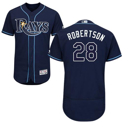 Rays #28 Daniel Robertson Dark Blue Flexbase Authentic Collection Stitched Baseball Jersey