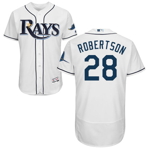 Rays #28 Daniel Robertson White Flexbase Authentic Collection Stitched Baseball Jersey