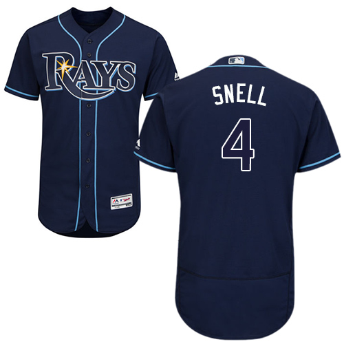 Rays #4 Blake Snell Dark Blue Flexbase Authentic Collection Stitched Baseball Jersey