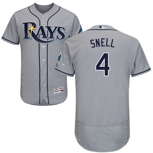 Rays #4 Blake Snell Grey Flexbase Authentic Collection Stitched Baseball Jersey