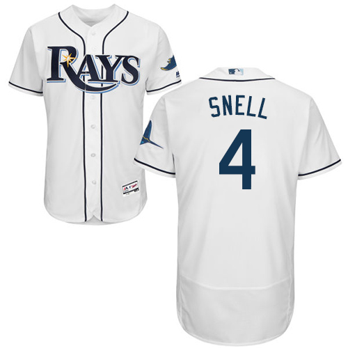 Rays #4 Blake Snell White Flexbase Authentic Collection Stitched Baseball Jersey