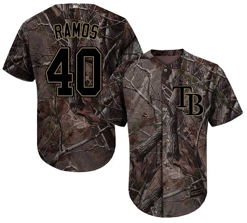 Rays #40 Wilson Ramos Camo Realtree Collection Cool Base Stitched Baseball Jersey