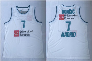 Real Madrid 7 Luka Doncic White Basketball Home Jersey 2017 18