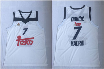 Real Madrid 7 Luka Doncic White Black Basketball Home Jersey 2017 18