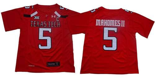 Red Raiders #5 Patrick Mahomes Red Limited Stitched College Jersey