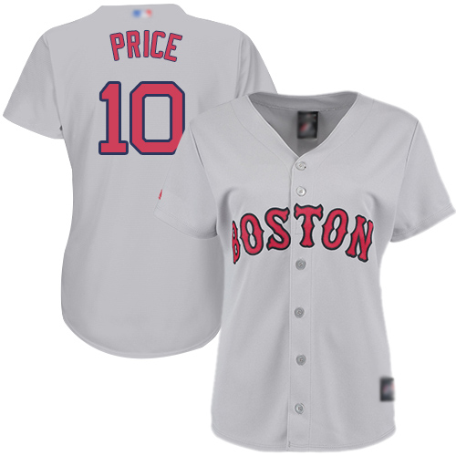 Red Sox #10 David Price Grey Road Women's Stitched Baseball Jersey