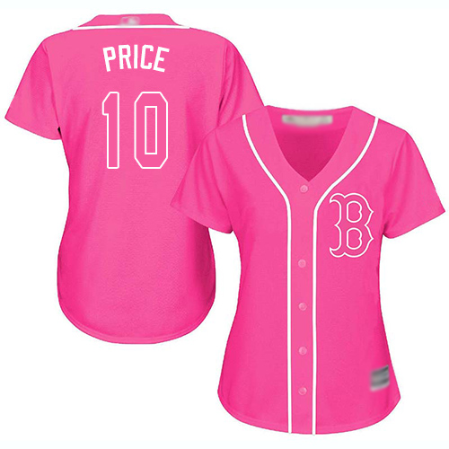 Red Sox #10 David Price Pink Fashion Women's Stitched Baseball Jersey