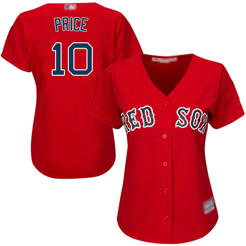Red Sox #10 David Price Red Alternate Women's Stitched Baseball Jersey