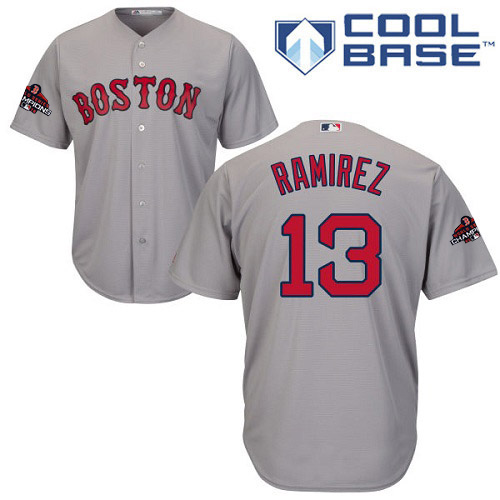 Red Sox #13 Hanley Ramirez Grey Cool Base 2018 World Series Champions Stitched Youth MLB Jersey