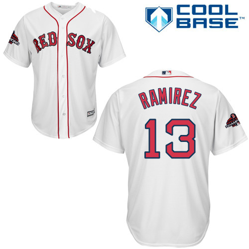 Red Sox #13 Hanley Ramirez White Cool Base 2018 World Series Champions Stitched Youth MLB Jersey