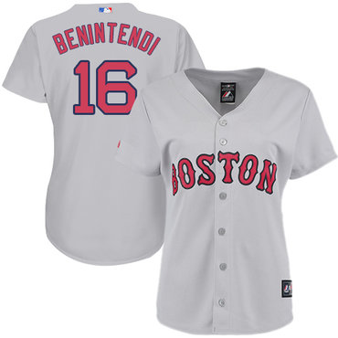 Red Sox #16 Andrew Benintendi Grey Road Women's Stitched MLB Jersey