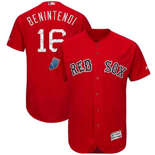 Red Sox #16 Andrew Benintendi Red 2018 Spring Training Authentic Flex Base Stitched MLB Jersey