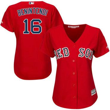 Red Sox #16 Andrew Benintendi Red Alternate Women's Stitched MLB Jersey