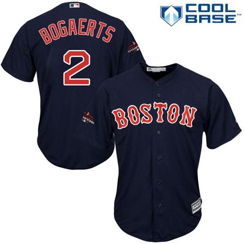 Red Sox #2 Xander Bogaerts Navy Blue Cool Base 2018 World Series Champions Stitched Youth MLB Jersey