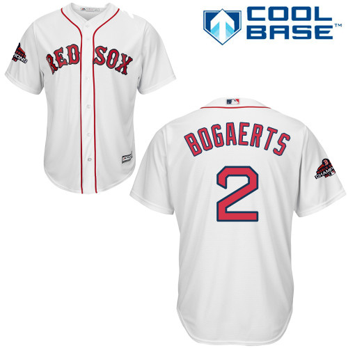 Red Sox #2 Xander Bogaerts White Cool Base 2018 World Series Champions Stitched Youth MLB Jersey