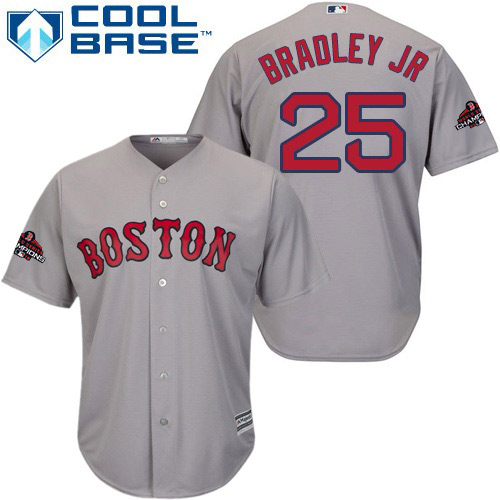 Red Sox #25 Jackie Bradley Jr Grey Cool Base 2018 World Series Champions jerseyssite.net Stitched Youth MLB Jersey