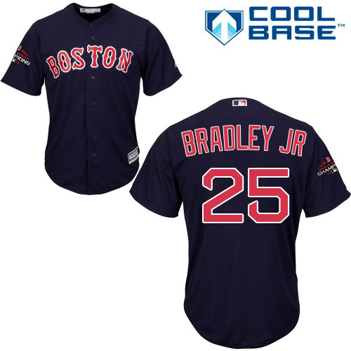Red Sox #25 Jackie Bradley Jr Navy Blue Cool Base 2018 World Series Champions Stitched Youth MLB Jersey