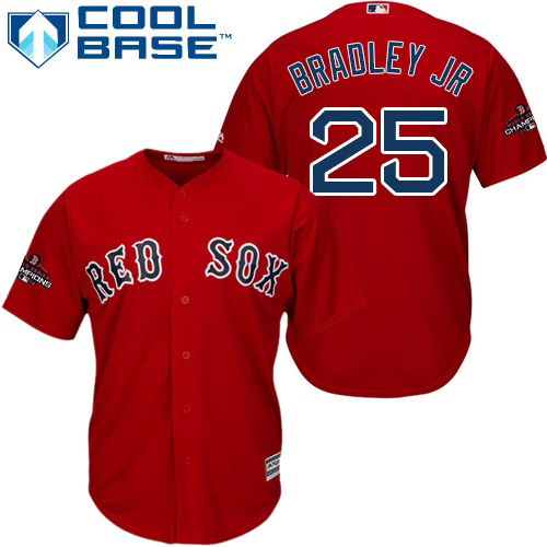 Red Sox #25 Jackie Bradley Jr Red Cool Base 2018 World Series Champions Stitched Youth MLB Jersey