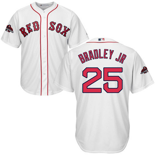 Red Sox #25 Jackie Bradley Jr White Cool Base 2018 World Series Champions Stitched Youth MLB Jersey