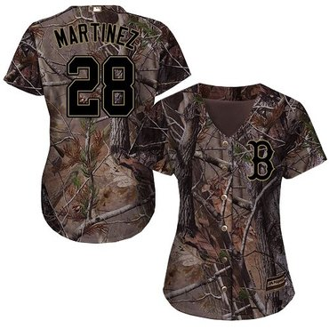 Red Sox #28 J. D. Martinez Camo Realtree Collection Cool Base Women's Stitched Baseball Jersey