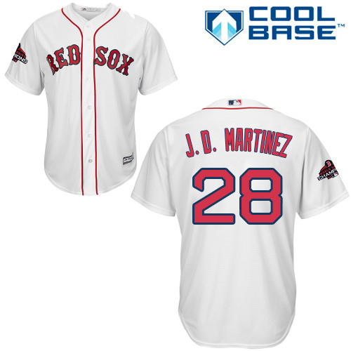 Red Sox #28 J. D. Martinez White Cool Base 2018 World Series Champions Stitched Youth MLB Jersey