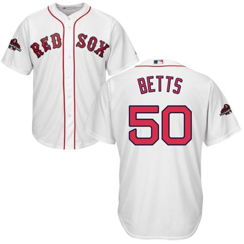 Red Sox #50 Mookie Betts White Cool Base 2018 World Series Champions jerseyssite.net Stitched Youth MLB Jersey