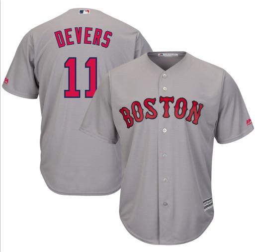 Red Sox 11 Rafael Denvers Gray Cool Base Jersey