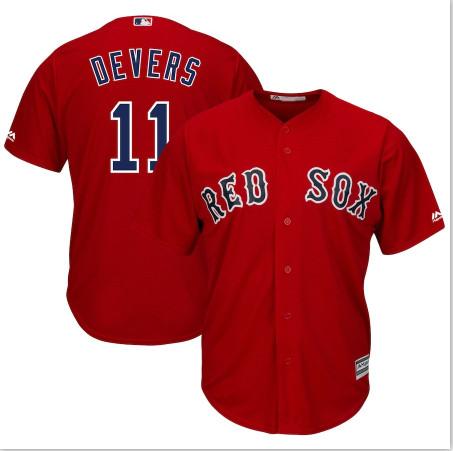 Red Sox 11 Rafael Denvers Red Cool Base Jersey