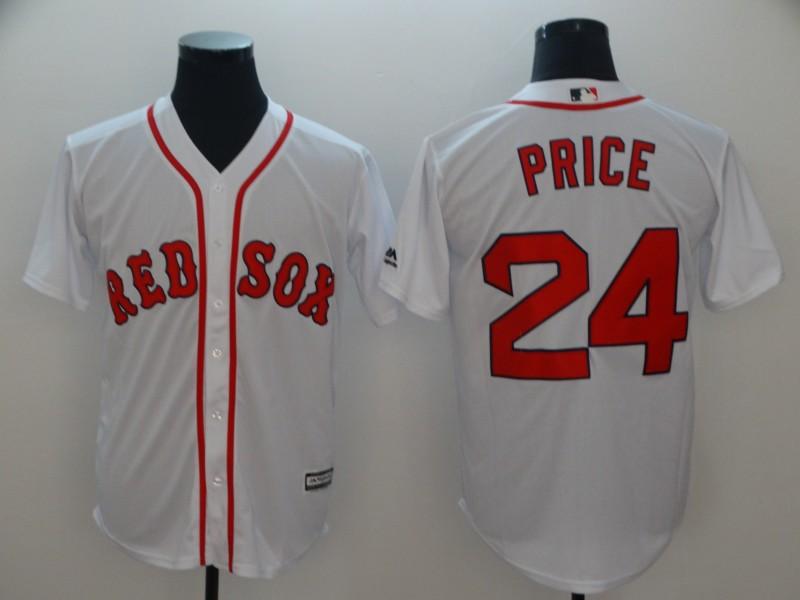 Red Sox 24 David Price White Cool Base Jersey