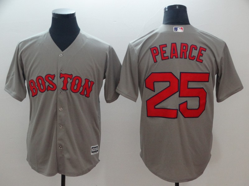 Red Sox 25 Steve Pearce Gray Cool Base Jersey