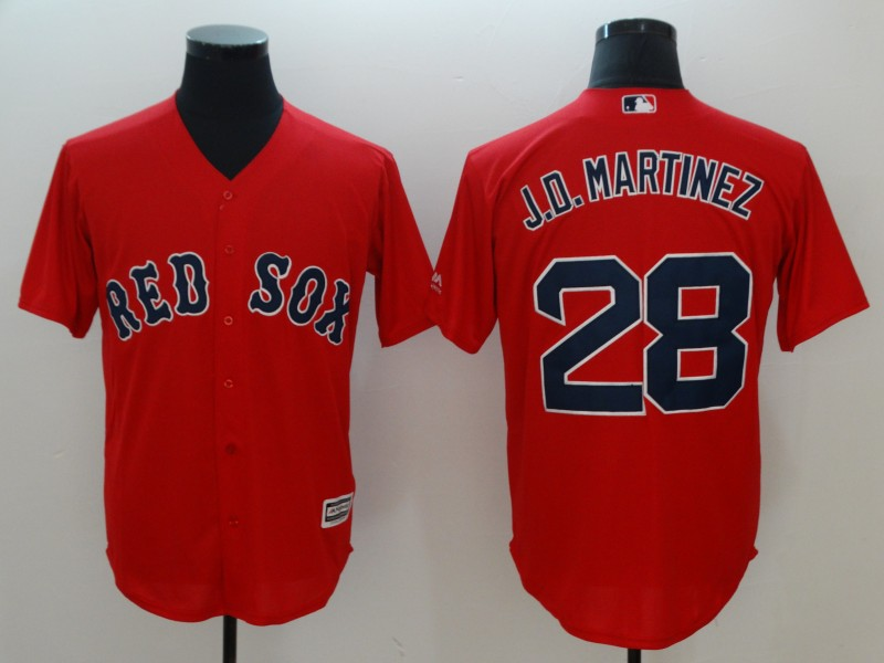 Red Sox 28 J.D. Martinez Red Cool Base Jersey