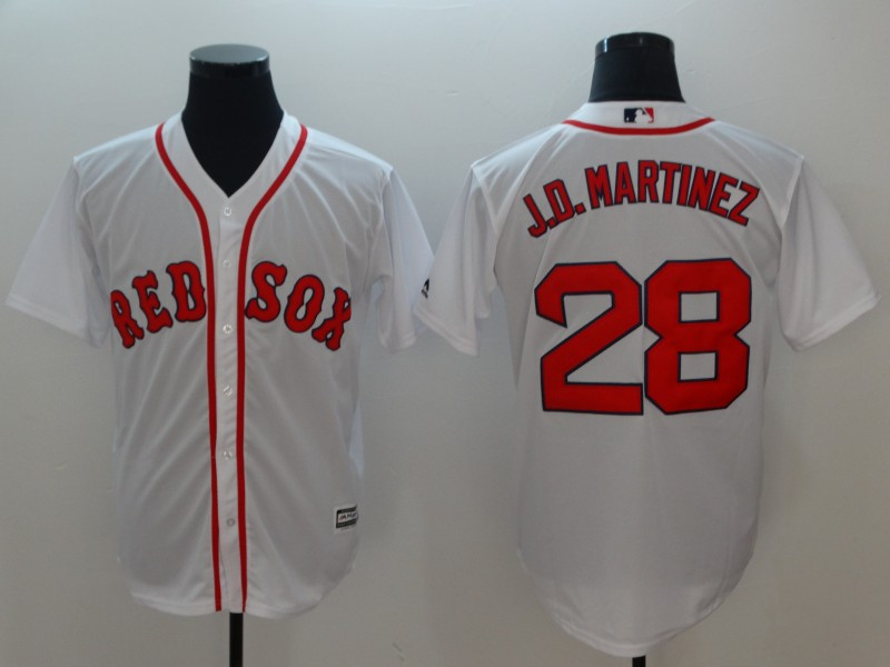 Red Sox 28 J.D. Martinez White Cool Base Jersey