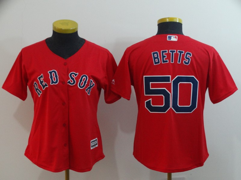 Red Sox 50 Mookie Betts Red Women Cool Base Jersey