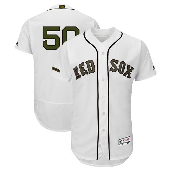 Red Sox 50 Mookie Betts White 2018 Memorial Day Flexbase Jersey