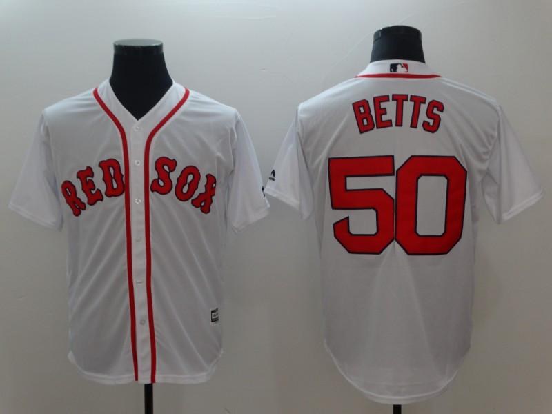 Red Sox 50 Mookie Betts White Cool Base Jersey